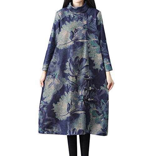 Womens Tops,Kulywon Women Winter Loose Long Sleeve Vintage Floral Print Button Long Maxi Dress(XXL/US 14,Blue)