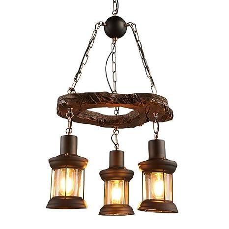 Colgante lámpara de techo de madera de proyección comedor ...