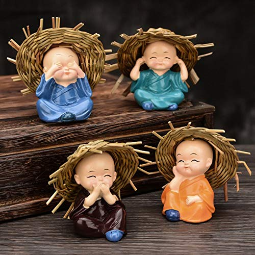 Car accessories - New 4Pcs Little Monk Cute Decoration Ornament Portable Gift For Car Interior Home Room CSL2018