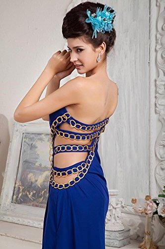 Blau verfuehrerisch Abendkleid GEORGE ein Schulter BRIDE Marineblau w4xYHqUR