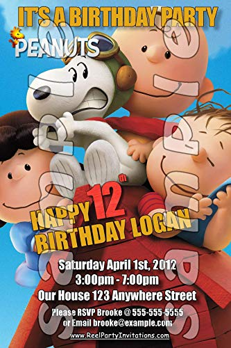 Peanuts Charlie Brown Snoopy Set of Personalized Birthday Party 4x6 invitations #4 -