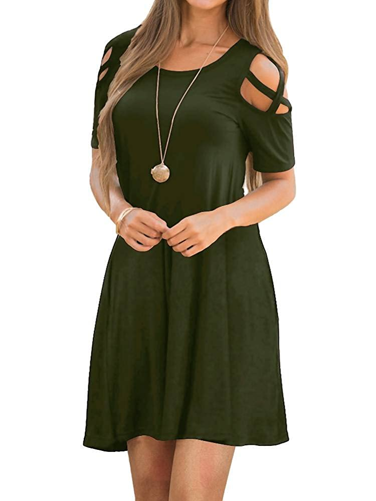 04army Green EZBELLE Women's Cold Shoulder Dresses with Pockets Loose Strappy T Shirt Swing Dress