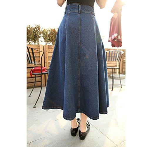 Womens Juniors High Waist A Line Vintage Long Denim Skirts With Pockets 50OFF