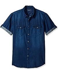 Calvin Klein Jeans Men's Short Sleeve Denim Button Down...
