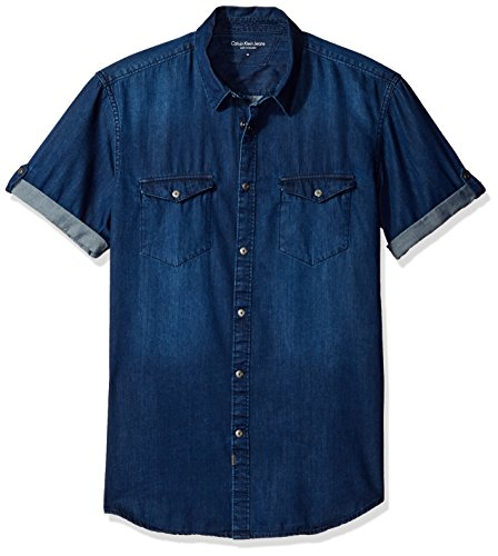 Calvin Klein Jeans Men's Short Sleeve Denim Button Down Shirt, Worn Indigo, - Shirt Short Denim Cotton Sleeve