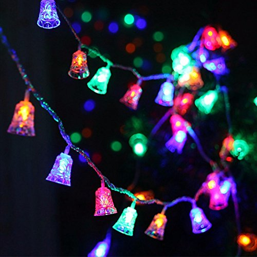 10M 100LEDs Waterproof Xmas Small Jingle Bell String lights Merry Christams Tree Decor Great Light For Holiday Party Home Ornament (Multi-color) (Bells Holiday Outdoor Lighting)