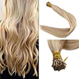 Full Shine 20' 1g Per Strand 50g Per Package Color Blonde #613/18 Highlighted I Tip Extensions Remy Human Hair DIY I Tip Hair Extensions