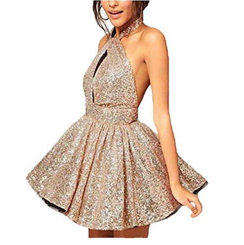 Elleybuy Women's Halter A Line Bling Homecoming Dress Backless Short Cocktail Dresses US16