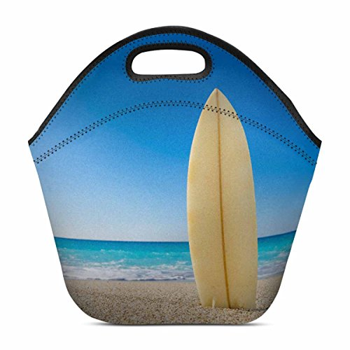 InterestPrint Summer Surf Board at Tropical Beach Neoprene Lunch Tote Bag Reusable Insulated Cooler Portable Lunchbox Handbag for Men Women Adult Kids Boys (School Carnival Food Ideas)
