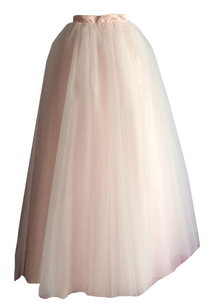 flowerry Bridal Long Maxi Tutu Tulle Skirt Wedding Party Bridesmaid Tutu Ball Gown Tutu Custom Color (4XL, Blush) by flowerry