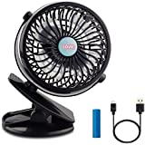 Mini Fan,LOVK Mini Clip Fan Battery Operated Portable Personal USB Rechargerable Small Clip on Desk Fan for Baby Stroller,Crib,Office and Camping,Black