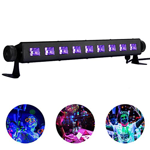 Black Light,Viugreum 9X3W UV LED Bar for Glow Party, Halloween, Disco DJ Poster Tapestry and UV Body Paint - Metalic Black Blacklight Bar
