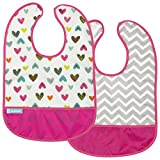 Kushies Cleanbib Waterproof Bib, 2-Pack, 6-12 Months, White Doodle Hearts / Fuchsia Chevron