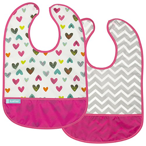 Kushies Girl - Kushies Cleanbib Waterproof Feeding Bib with Catch All/Crumb Catcher Pocket. Wipe Clean and Reuse! Lightweight for Comfort, 2-Pack, Baby Girls, 6-12 Months, White Doodle Hearts/Fuchsia Chevron