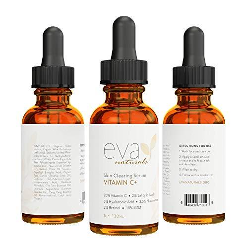 Eva Naturals Vitamin C Serum Plus 2% Retinol, 3.5% Niacinamide, 5% Hyaluronic Acid, 2% Salicylic Acid, 10% MSM, 20% Vitamin C - Skin Clearing Serum - Anti-Aging Skin Repair, Face Serum (1 ounces)