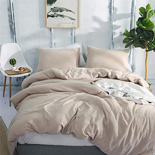 Textong Duvet Cover Set Solid Super Soft Bedding Sets with Zipper Closure Washed Process Microfiber Bed Cover(Khaki Full)
