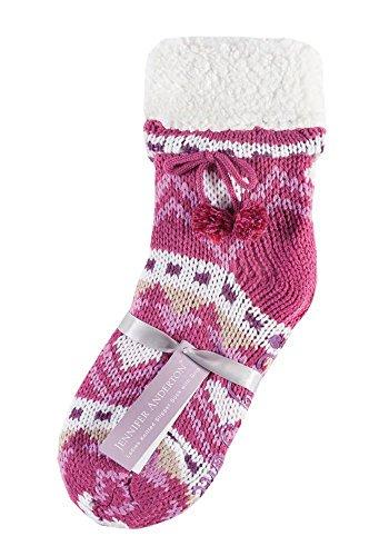 Jennifer Anderton - calcetines mujer zapatos de la casa abs antideslizante prevención de caídas en 6 colores (booties) Raspberry