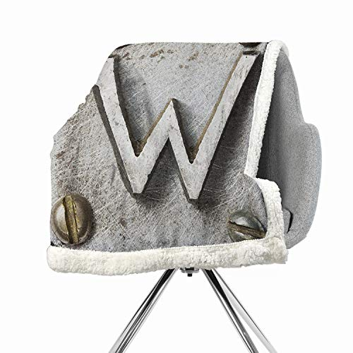 Khakihome Letter W Lightweight Fluffy Flannel and Sherpa Blanket 60 by 32 Inch for Couch Silver GoldUppercase W Bolt Screws Industrial Kitsch Artful Symbolic Person Initials Image - Hudson Iron Bolts