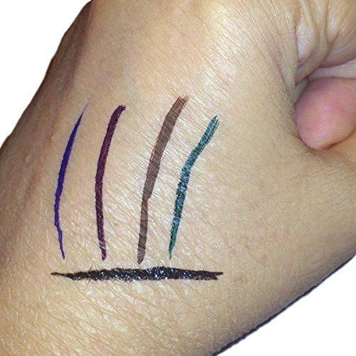 Nikka Notto Liquid Eyeliner 5 Colors Waterproof Set De-Luxe. Sponge Tip Automatic Express Pen Eye Liners, Black, Brown, Purple, Blue, Green
