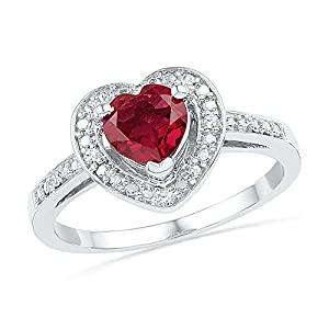 Size - 7.5 - Solid 10k White Gold Heart Round Red Simulated Ruby And White Diamond Engagement Ring OR Fashion Band Prong Set Solitaire Shaped Halo Ring (.03 cttw)