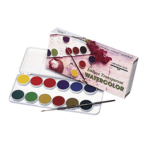 Grumbacher WCT24.SET Non-Toxic Watercolor Paint Set with Brush, Assorted Transparent Color, Set of 24 Colors