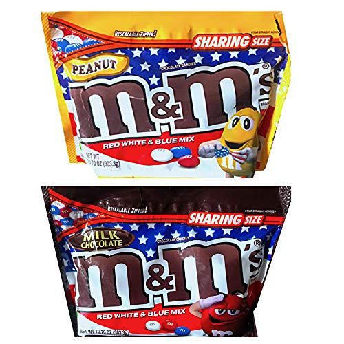 M&M's Chocolate Peanut And Milk Chocolate Candies! 10.70 Ounce Pack Of 2 in Resealable Bag! Chocolate Candy Color Red, White & Blue Mix! July 4th Independence Day Inspired Candy Limited Release!]()