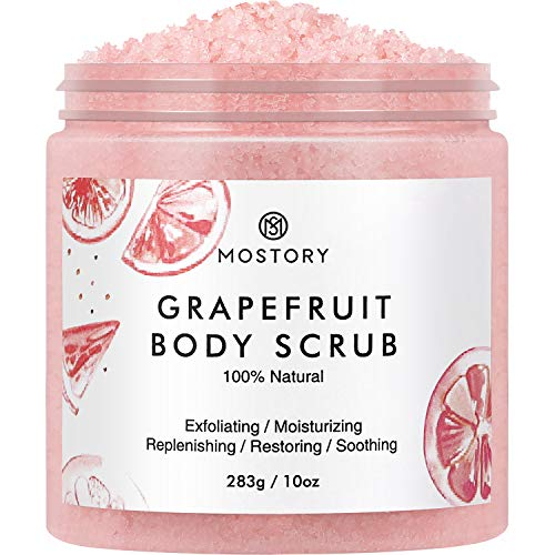 Natural Grapefruit Exfoliating Body Scrub - Shooting Organic Dead Sea Salt Anti Aging Acne Wrinkles Cellulite Remover Exfoliator Moisturizing Vitamin E Vitamin C Coconut Oil Scrubs for Women Men 10 oz