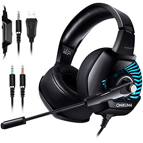 ONIKUMA II Gaming Headset for PS4, Xbox One, PC, Nintendo Switch, Over-Ear Noise Cancelling Headphones with Soft Memory Earmuffs, 7.1 Surround Sound, Volume/Mic Control, LED Light for Laptop Mac by ONIKUMA