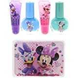 Townley Girl Minnie Mouse Kiss It Paint It Lip Gloss and Nail Polish Set with Makeup Case, 5 Pieces