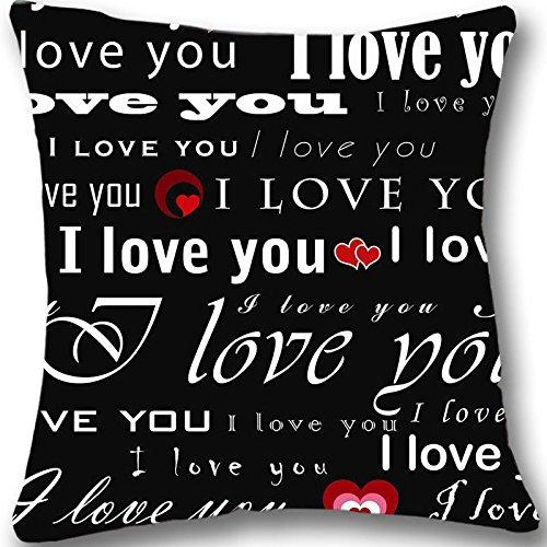 Price comparison product image I love you Custom Zippered Cushion Cover Case Decorative Pillowcase 18x18