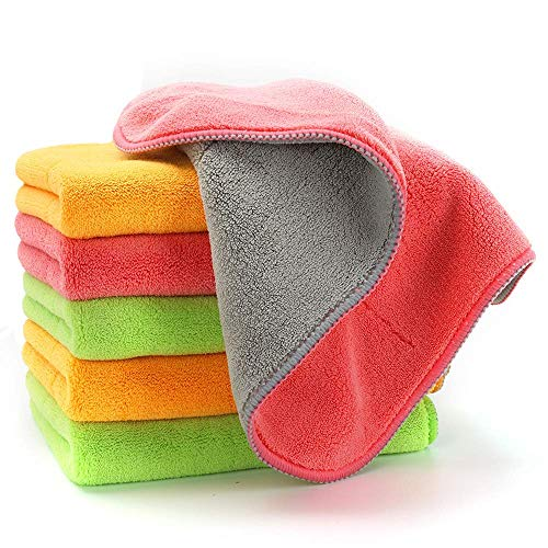 Ultra-Thick Microfiber Cleaning Cloths, Super Absorbent Dust Cloths Buffing Cloths with Two Color on Two Side by House Again, Lint Free Streak Free for Tackling Any Cleaning Job with Ease, 6-Pack