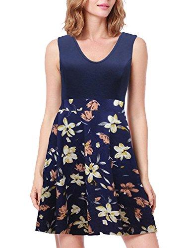Printed Corto Beach sin Verano Mujer Vestidos Mangas Boho Azul Mujer para Floral Vestido Mini Mujer Vestido W0vqw6PTE8