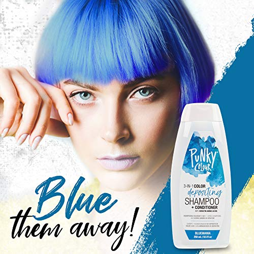 Punky Bluemania 3-in-1 Color Depositing Shampoo & Conditioner with Shea Butter and Pro Vitamin B that helps Nourish and Strengthen Hair, 8.5 oz