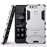 Heartly Huawei Ascend P9 Back Cover Graphic Kickstand Hard Dual Rugged Armor Hybrid Bumper Case - Champagne Silver