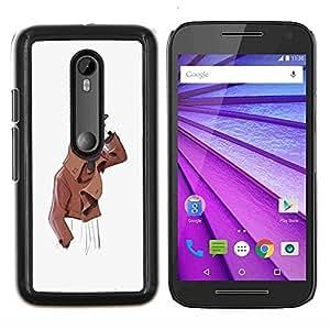 """For Motorola MOTO G3 ( 3nd Generation ) Case , Hombre amistoso Retrato artístico Sombrero Pintura"""" - Diseño Patrón Teléfono Caso Cubierta Case Bumper Duro Protección Case Cover Funda"""