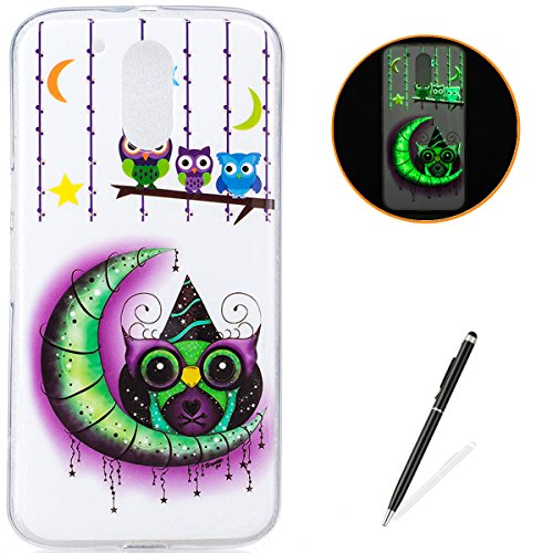 - Motorola G4 Soft Silicone Gel Case Luminous Effect KaseHom [with Free Black Touch Stylus] Green Glow in The Dark Colourful Moon Owl Stars Pattern Jelly Clear TPU Skin Cover Bumper Shell