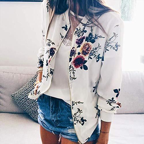 Zippe Veste Blouson Motard des Impression Coat Blouson pour Tops Outwear ShallGood Jacket Casual Printemps Blanc Femmes Fleurs A Motifs Floral Jacket Automne Court qxI0n6wF5