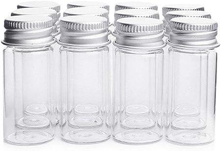 Danmu Art Vials Botella de cristal transparente con tapa de tornillo de aluminio, botes de muestra vacíos y fuertes, contenedores pequeños para botellas, muestras de boda o decoración de bodas, 10 ml