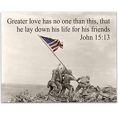 (Greater Love - Raising the Flag on Iwo Jima - 11x14 Unframed Art Print - Perfect Gift for Military Families and Patriotic Americans That Still Believe in Our Country)