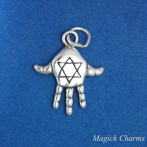 925 Sterling Silver 3D Hamsa Hand with Jewish Star of David Charm Pendant Jewelry Making Supply, Pendant, Charms, Bracelet, DIY Crafting by Wholesale Charms