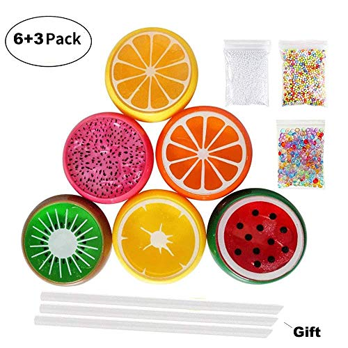 (Simuer Fruit Slime Kits, Crystal Slime Putty Magic Clay Plasticine Rubber Mud Plus Foam Balls,Fishbowl Beads,Straws,Fruit Slices Gift Toys for Girls/Kids DIY Party Favors)