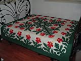 Hawaiian quilt 100% hand quilted/hand appliqued full/queen bedspread 80x80 New