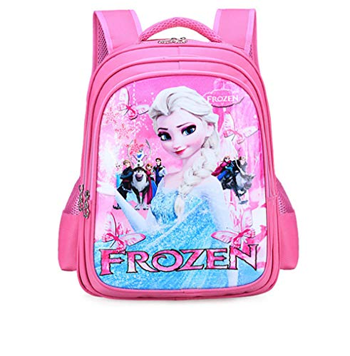 BIGMENG Pink Frozen Elsa School Backpack Bag for Girls Disney Cartoon Student Bookbag for Toddler