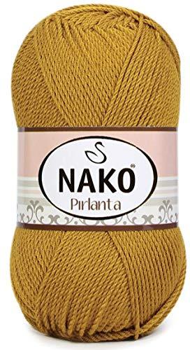 Nako PIRLANTA 100% Micro Acrylic Sport Yarn 1 Ball skeins 100 gr 246yds Color (6706 - Golden Piece)