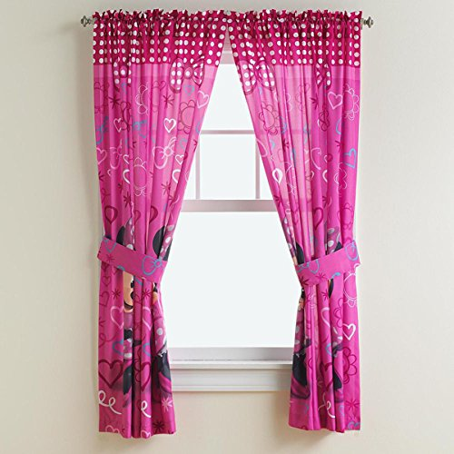 (Disney Minnie Mouse Panel Pair & Tiebacks Set Girl Window Curtain and Tie Back Set )