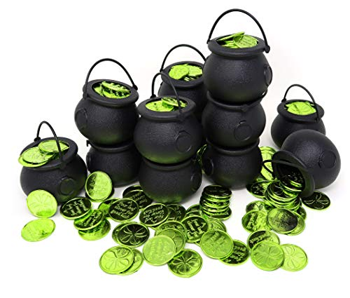 St. Patrick's Day Irish Accessories 144 Green Shamrock 4-Leaf Clover Good Luck Coins With 12 Cauldron Candy Kettles Cups, Bulk Plastic Party Decorations, Kettle Candies Holder, Party Favors Decor, By -