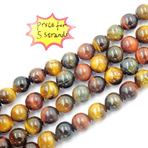 Gemstone Beads for Jewelry Making, Sold per Bag 5 Strands Inside, Mix Tiger Eyes Stone 8mm ()