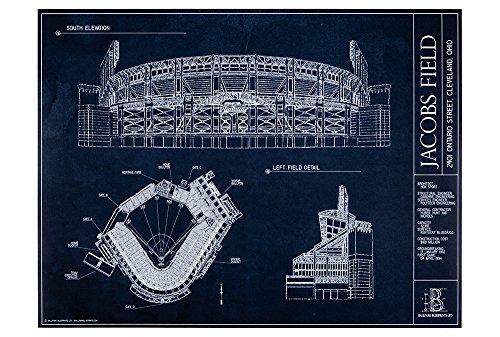 Jacobs Field Blueprint Style Print (Unframed, 18