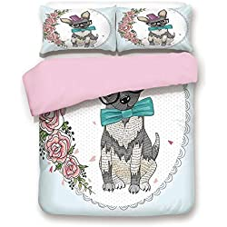 Pink Duvet Cover Set,King Size,A Dog Puppy Retro Art Design Floral Heart and Flowers Roses Print Decorative,Decorative 3 Piece Bedding Set with 2 Pillow Sham,Best Gift For Girls Women,Light Blue White