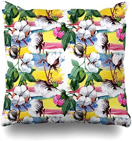 Ahawoso Throw Pillow Cover Wild Bio Flower Pattern Watercolor Full Nature Meadow Green Blossom Botanical Bud Drawing Drawn Decorative Cushion Case Square 16